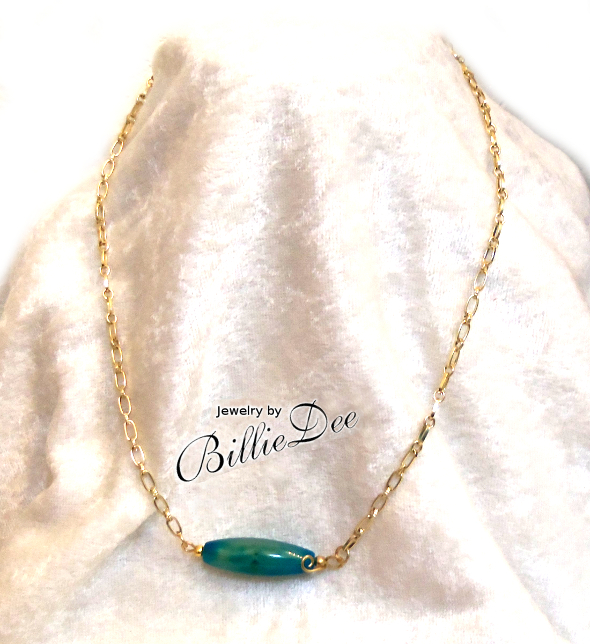 Ocean blue agate tube stone on gold chain