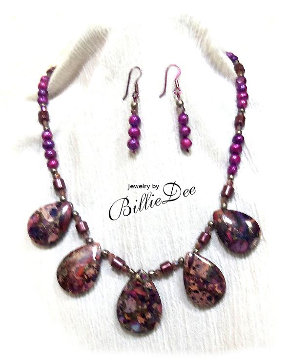 Royal Plume Jasper teardrop stone with magnetic hematite and purple pearls
