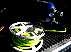 Portable unit air hose storage